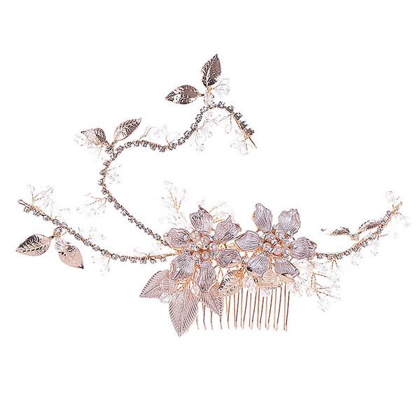 Filles Beauté Floral Bandeau Femmes Strass Chapeau Délicat Peigne De Mariage De Mode Simulation Perle Bijoux De Cheveux