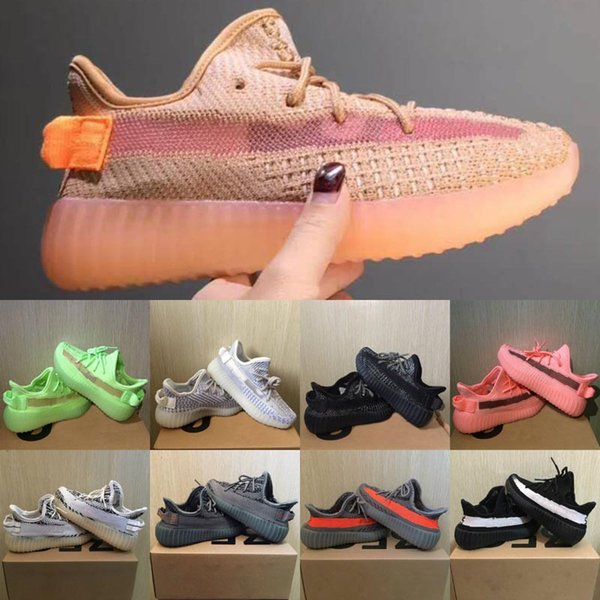 best selling New Kids Shoes Kanye West V2 Running Shoes Reflective Beluga 2.0 Zebra Sneakers Clay Baby Boy Girl Toddler Trainer Sneaker Black Red