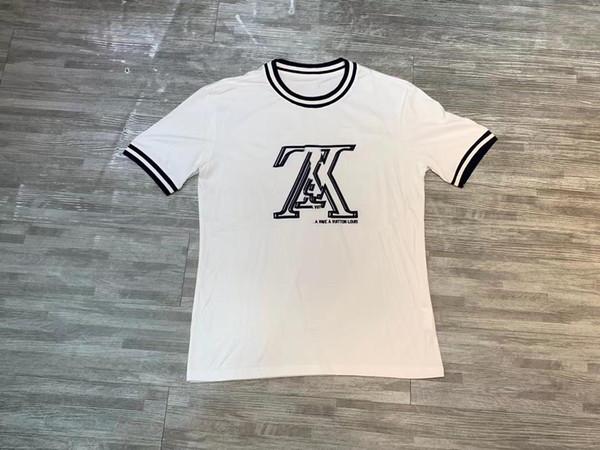 Venta caliente Marca de Los Hombres de Manga Corta Diseñador de Moda Camisa Letras de Algodón Reflectante Comercio al por mayor de Lujo Verano Camiseta 2019