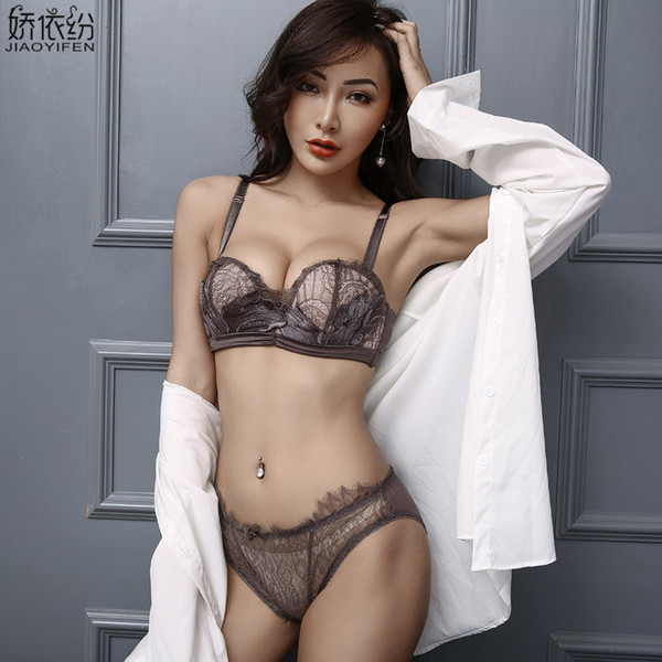 New Fashion Seamless Bra Set Sexy Lace Embroidery 1/2 Cup Women Underwear Push Up Bra Set Sexy Lace Transparent Panty Lingerie