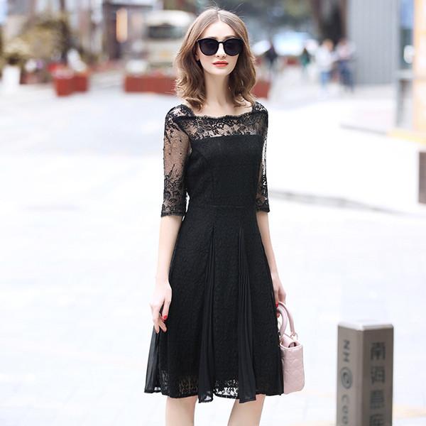 Laurence família RMOJUL 2019 nova primavera vestido elegante gola quadrada rendas vestido preto longo