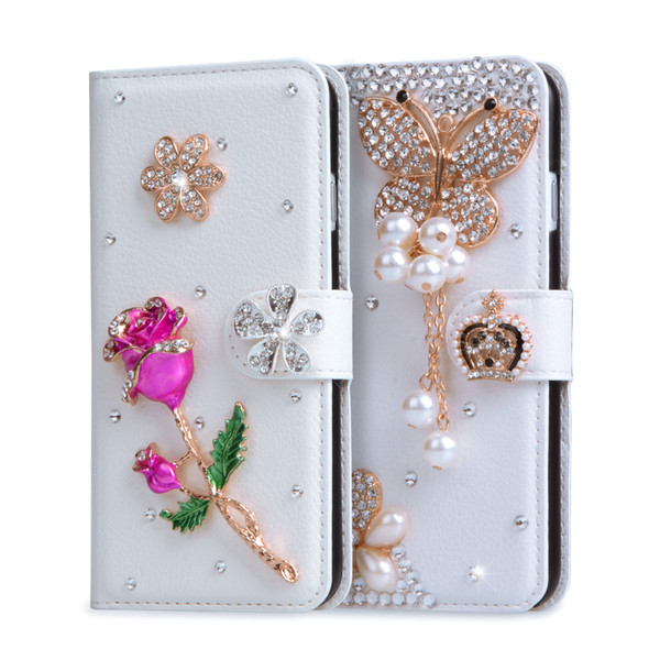 Coque For HTC Desire 530 Case Glitter 3D Rhinestone Wallet PU Leather Cover For HTC 530 630 Handmade Floral Diamond Fundas Case