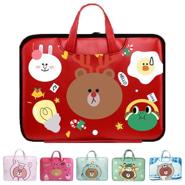 """Newest cute bear pattem PU waterproof Laptop Bags 12 13 13.3 14 15 16 Inch for 13.3"""" NoteBook Bags Laptop cases"""
