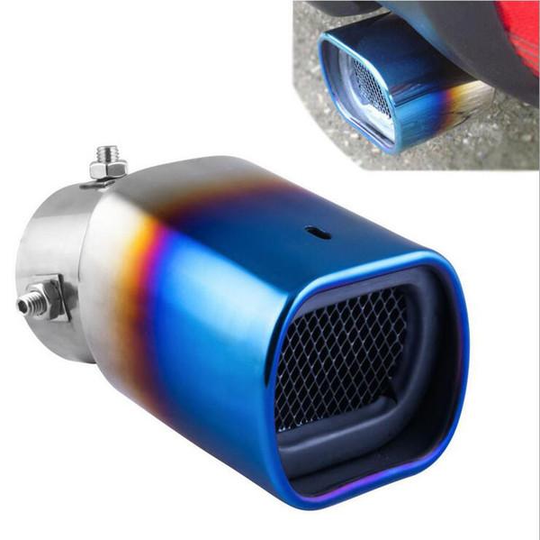 Tubo di scarico universale in acciaio inossidabile modificato per auto Marmitta con coda quadrata blu da 2,5 pollici