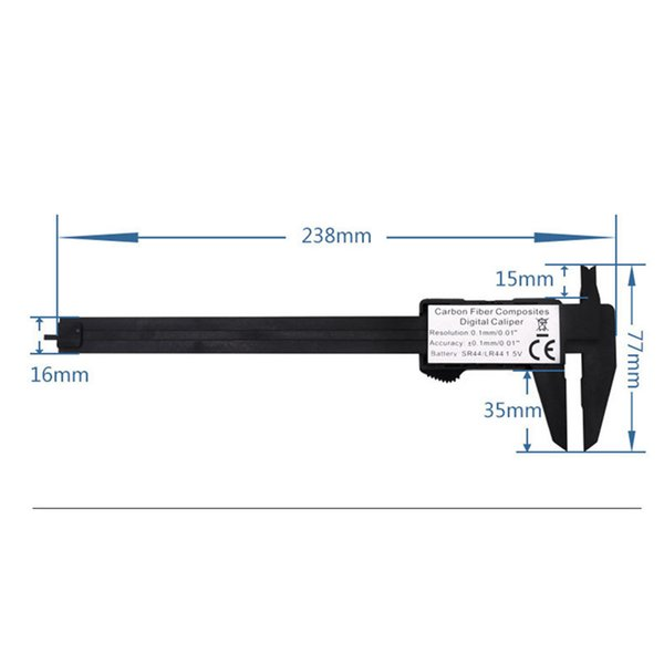 best selling 150mm Vernier Caliper Gauge Micrometer Measuring Tool Accurately Carban Fiber LCD Screen Multi Color High Quality