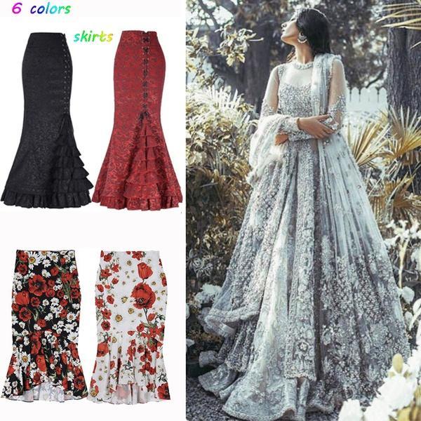 6 couleurs gothique victorien vintage de femmes Fishtail Jupe longue Steampunk Robe de sirène PLUS TAILLE S-4XL