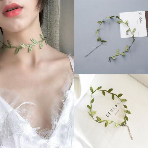 США Фото Summer Green Vines Leaf Choker Ожерелье Женщины ключицы цепи ожерелье Пара Камея падения Аксессуары