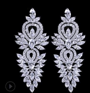 up-market gift fashion diamond crystal 925 silver lady earings free shipping 39h