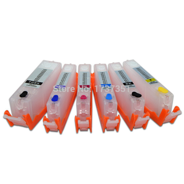 6 color PGI-480 CLI-481 Refill Ink Cartridge with Disposable Chip for Canon PIXMA TS8140 TS9140 Printer PGI 480 480XL CLI 481