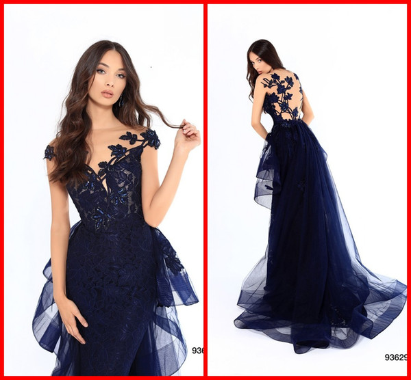 Sexy Navy Blue Applique Lace 2019 Evening Dresses Formal Gowns Mermaid Beads Sequin Cap Short Sleeves Bridesmaid Mother Prom Dress Cheap Tk Evening