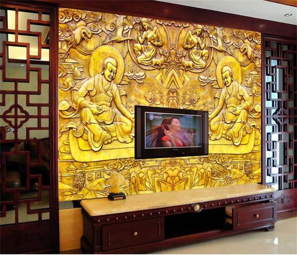 Özel boyut 3d fotoğraf duvar kağıdı oturma odası duvar duvar budist altın kaplama kabartma 3d resim kanepe TV zemin duvar kağıdı dokunm ...