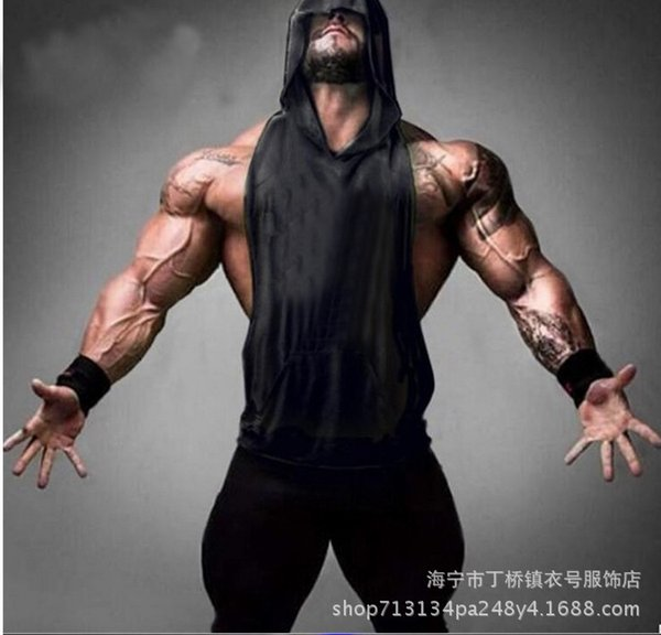 NEWMen's sports vest shoulder solid color muscle fitness bodybuilding deep digging training vest a generation of hair #271577