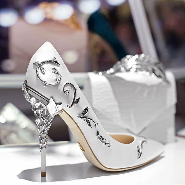 Free shipping Ornate metal Filigree Leaf decor Women Pumps Multi-Colors elegent Women Shoes Stiletto high heel bridal Wedding Summer Shoes