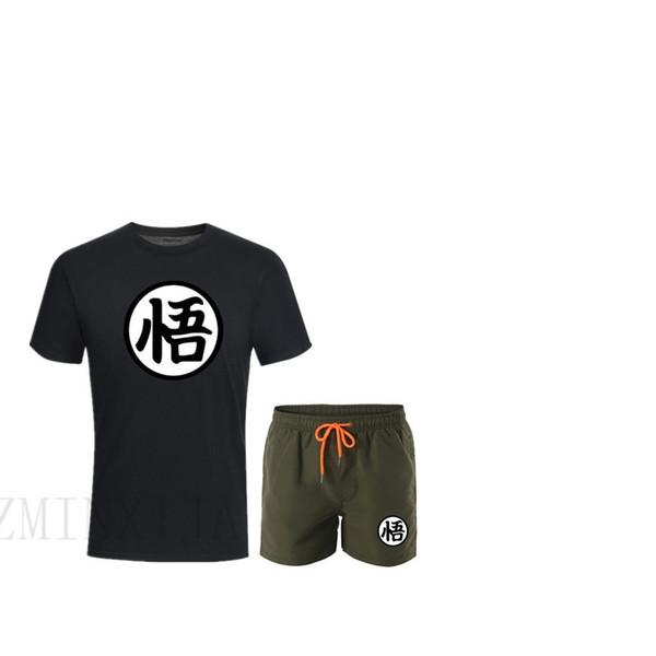 Traje de verano de alta calidad Z Goku T-shirt + pantalones cortos para hombre ropa de marca de dos piezas traje de moda caliente camiseta ocasional