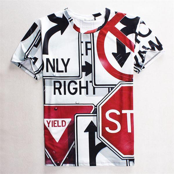 Camiseta de diseñador Nueva moda para hombre Camiseta 3d Ropa de la novedad Imprimir señales de tráfico Camiseta informal Camiseta con estilo mensTops