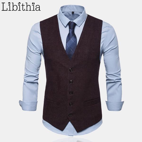 men's blazer vests s-3xl sleeveless solid colors waistcoat men clothes male black dark blue red a7