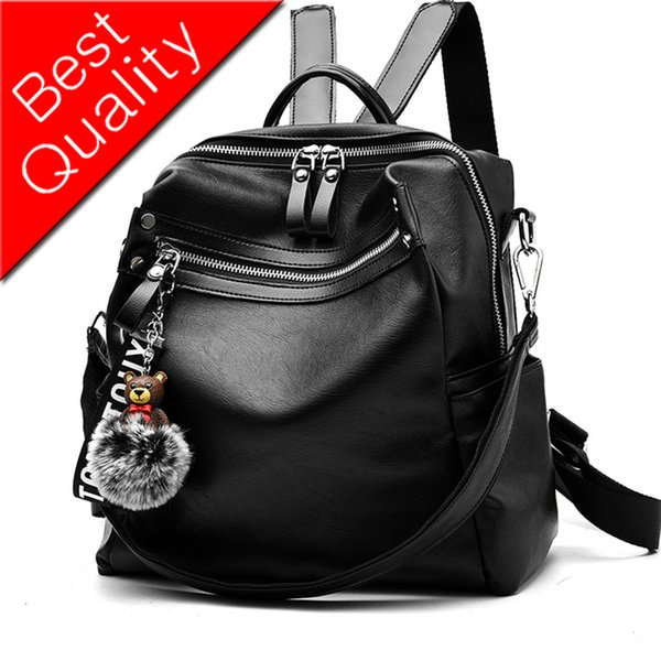 Women Backpack Leather Women Bag School Backpacks For Teenager Girls Zipper Hair Ball Pendant Travel Mochila Large Capacity New