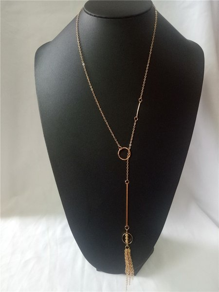 cecmic art deco american wholesale fashion jewelry necklace with gold plate chain and circle pendant for back and front