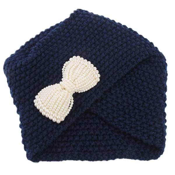 Winter Thread Knitted Hat Faux Pearl Bowknot Solid Color Skullies Beanie Cap Crochet Cross Wrap Irregular Ear Warme W77