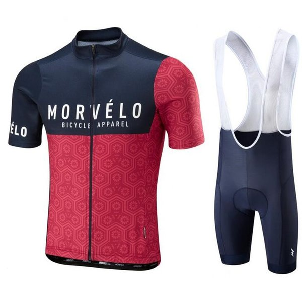 2018 Morvelo Breathable Summer Cycling Jersey Bib Shorts Set Bicycle Sport Wear Clothing Clothes Shirt Quick Dry