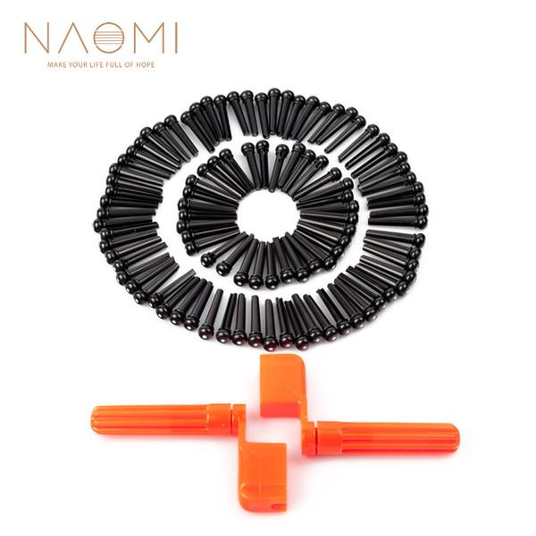 top popular NAOMI 100PCS Acoustic Guitar Pins + 2PCS Guitar String Winder Pegs Bridge Pins Orange + Black Guitar Parts Accessories 2021