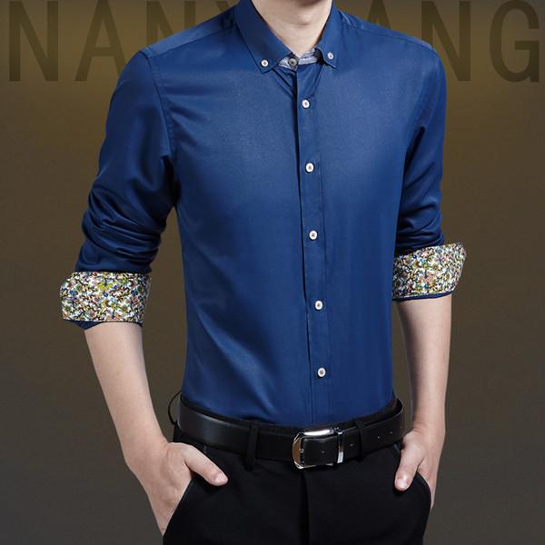Camisas de vestir de primavera para hombre Para hombre Nueva moda Casual Oficina de negocios delgada Escardar camisas de manga larga Algodón Tamaño sólido 5XL