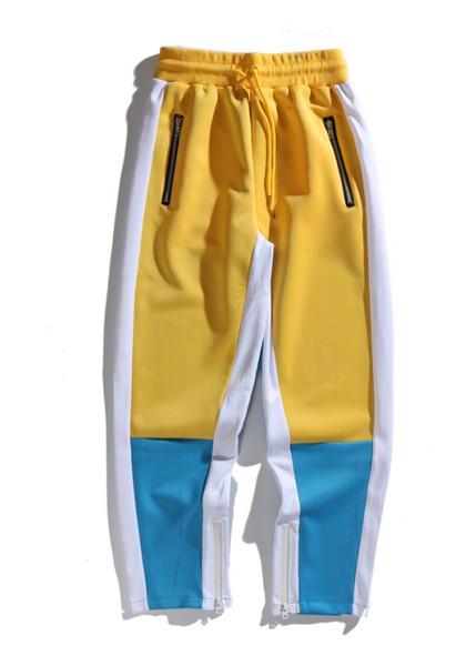 Nova marca chegou mans calças 2019 designer de calças de luxo cor Retro contraste esportes cor do contraste dentro do zíper calças casuais Slim