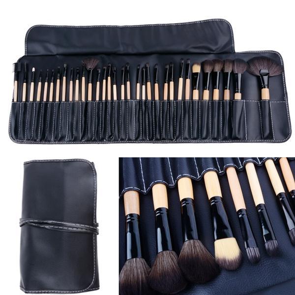 32PCS макияжа Косметические тени для век Карандаш Powder Brush Set Kit + кожаный мешок