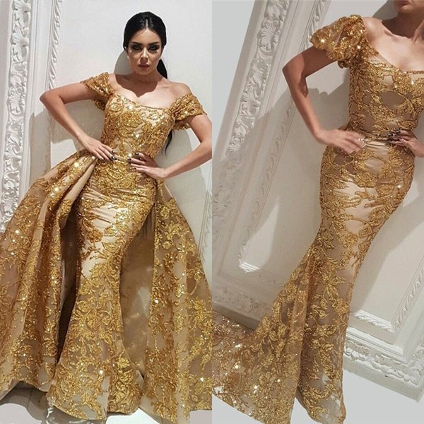 New Couture Dubai Sparkly Gold Evening Dresses With Detachable Train Robe de soiree Aibye Muslim Turkish Prom Gowns Abendkleider
