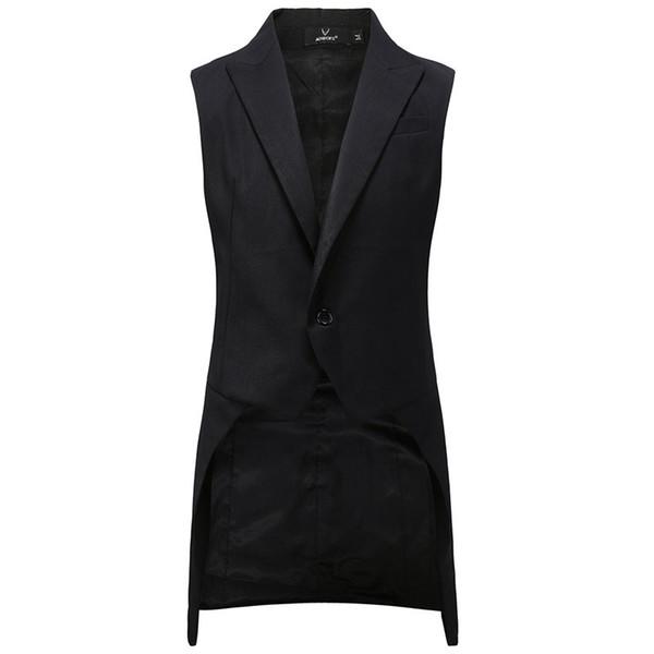 New Cool Fashion Noir Smokings Homme Moyen long Homme Frac queue d'aronde Manteau Gilet Costume Livraison gratuite
