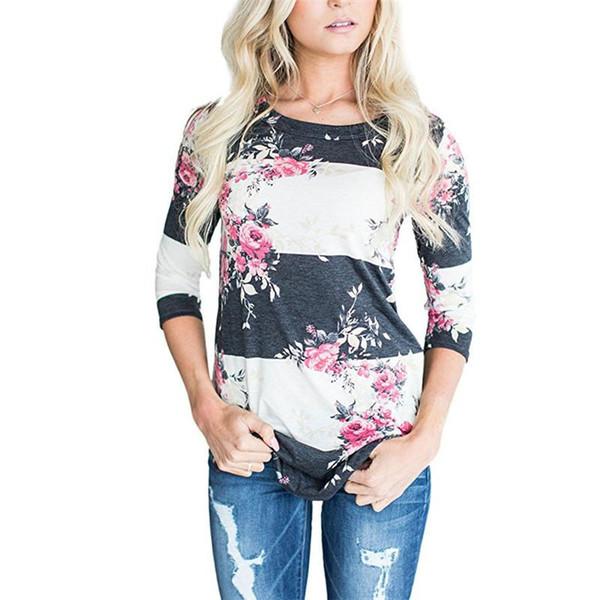 Mode T-shirts Frauen Mit Blumenmuster Mode Weiß Pullover Blusen Lässige Tops Mit Oansatz Herbst Damenbekleidung Großhandel