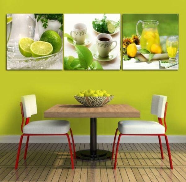 3 Paneller Çerçevesiz Tuval Fotoğraf Baskılar Limon Çay Duvar Sanatı Resim Tuval Resim Sergisi Duvar Süslemeleri Yapıt Giclee Resim Sergisi