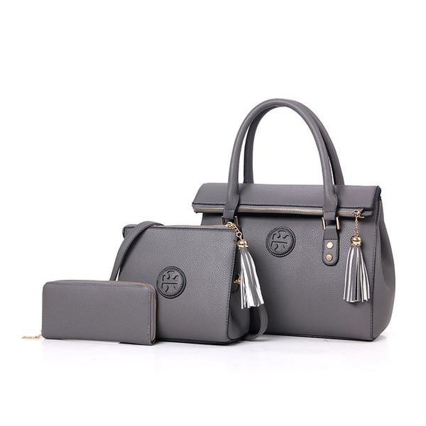 Bolso de mano de diseñador Nuevo bolso de borla de cuero de PU de lujo 3 piezas Bolsos compuestos Set Lady Hombro Crossbody Bolso de mujer Cartera femenina Embrague