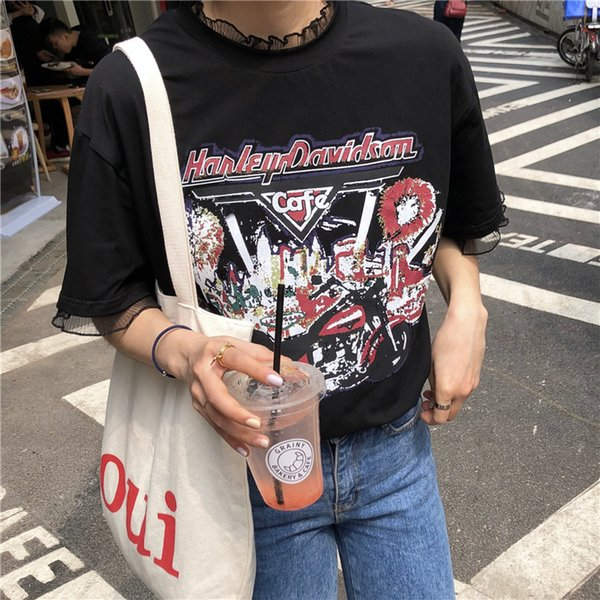 2019 New Summer Lace Printed Crew Neck Women T-shirt Fashion Cuasal Lovely Black And White Cotton
