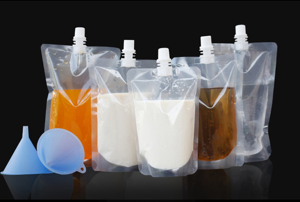 100pcs/lot 250-500ml, Stand-up Plastic Drink Packaging Bag Spout Pouch for Beverage Liquid Juice Milk Coffee
