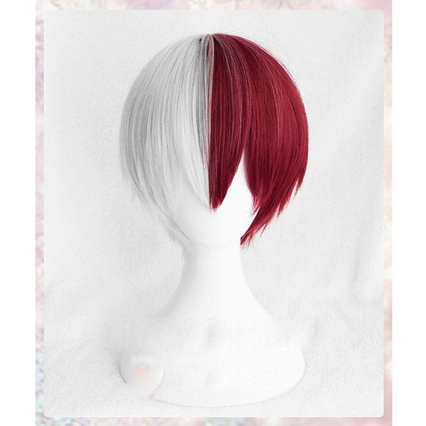 Haute Qualité Mon Académie Boku Aucun Hiro Akademia Shoto Todoroki Shouto Perruques Argent Blanc Et Rouge Cosplay Perruque + Bonnet De Perruque