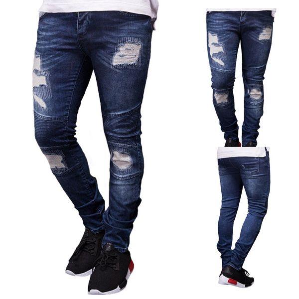 2019 nuovo Mens Designer strappato Biker Jeans primavera estate ricamo blu denim drappeggiato Hiphop Via Jeans