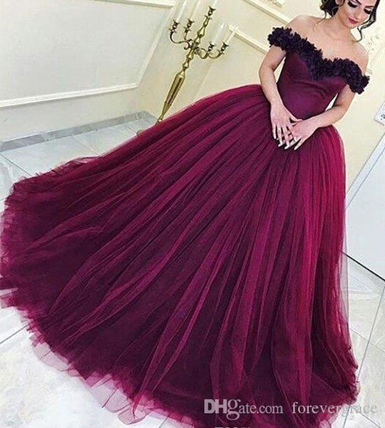 2019 Wine Red Quinceanera Dress Princess Arabic Dubai Off Shoulder Sweet 16 Ages Long Girls Prom Party Pageant Gown Plus Size Custom Made
