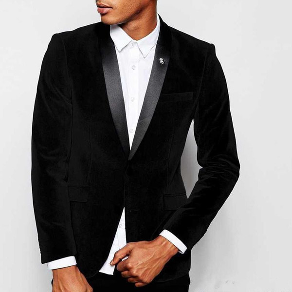 New Stylish Design Groom Tuxedos Two Button Black Velvet Shawl Lapel Groomsmen Best Man Suit Mens Wedding Suits (Jacket+Pants+Tie) 954