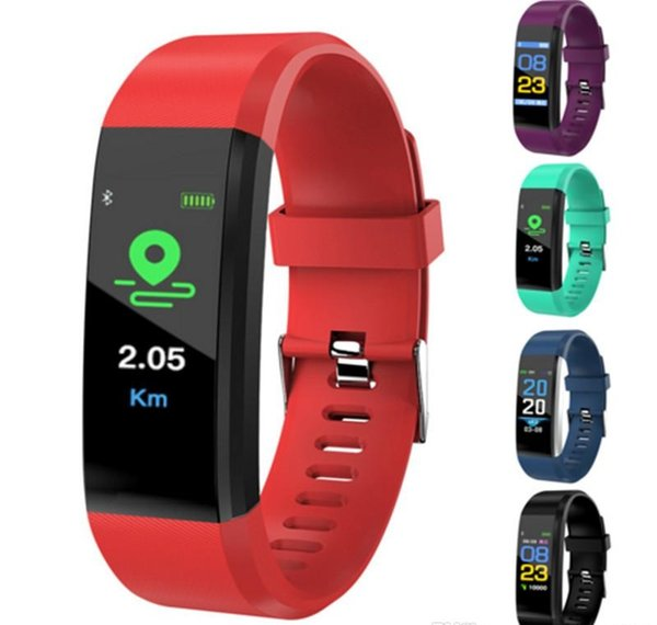 2019 lcd creen id115 plu mart bracelet fitne tracker pedometer watch band heart rate blood pre ure monitor mart wri tband