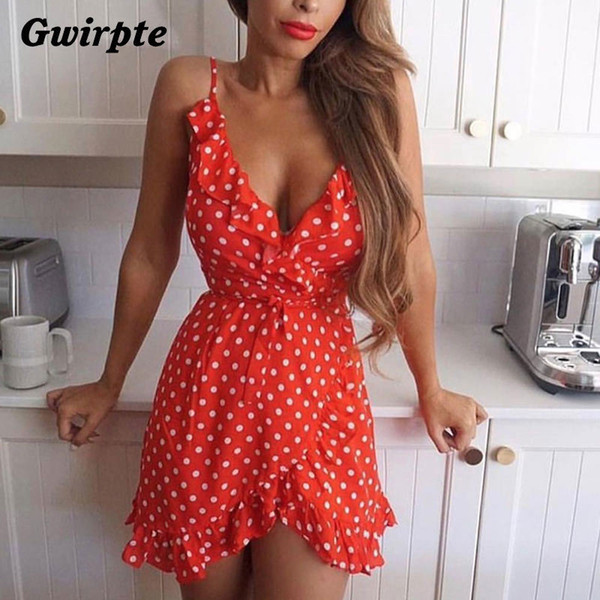 Stars Print Camis Dress Women Sexy White Wrap Bodycon Casual Rustic Summer Style Boho Resort High Waist Red Polka Dots Dresses J190512