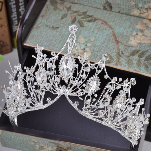 Discount rhinestone crowns for queens ewelry & Accessories KMVEXO 2020 New Big Baroque Handmade Crystal Princess Crowns for Queen Rhinestone Tiaras Diadem Wedding Bridal Hair ...