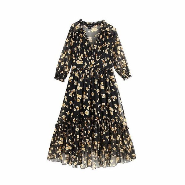 2019 Women V Neck Floral Midi Dress Three Quarter Sleeve Side Zipper Irregular Female Dresses A Line Vestidos Qb382