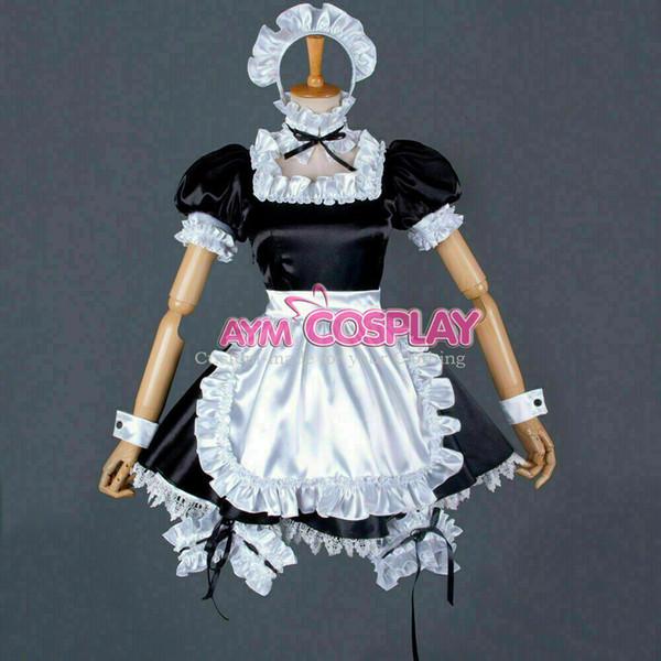 lockable satin-Organza Sissy maid long dress cross dressers Tailor-made