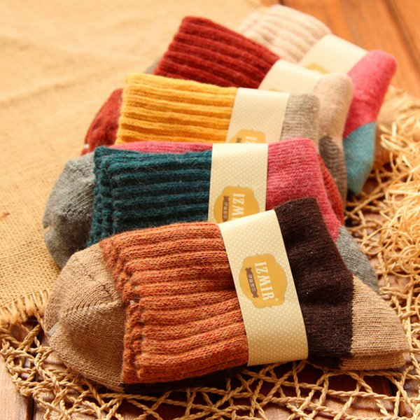 5pairs/lot High Quality Women Winter Vintage Rabbit Wool Socks Thicken Warm Female Fashion Patchwork Retro Thermal Cotton Socks SH190719