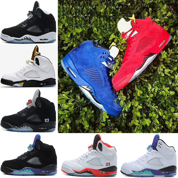 2019 5s Basketball shoes Men Sneakers OG Black Metallic space jam fire red Blue Suede White Cement trainer sports shoes size 41-47 fashionma
