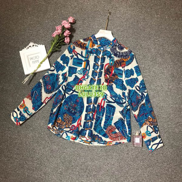 Hot Sale Women Silk Classic Plaid Letter Shirt High-End Custom Silk Long Sleeve Shirt Paris Fashion Week Blouse 707526