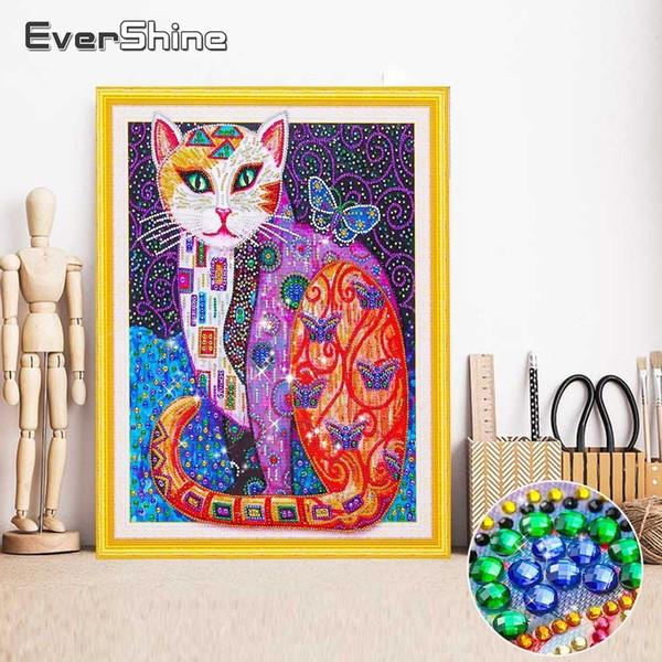 vendita all'ingrosso diamante pittura gatto speciale forma diamante ricamo vendita animale 5d diy diamante mosaico immagine di strass 40x50