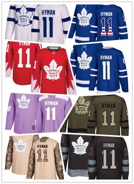 Toronto Maple Leafs jerseys #11 Zach Hyman jersey ice hockey men women blue white red Authentic winter classic Stiched gears Jersey