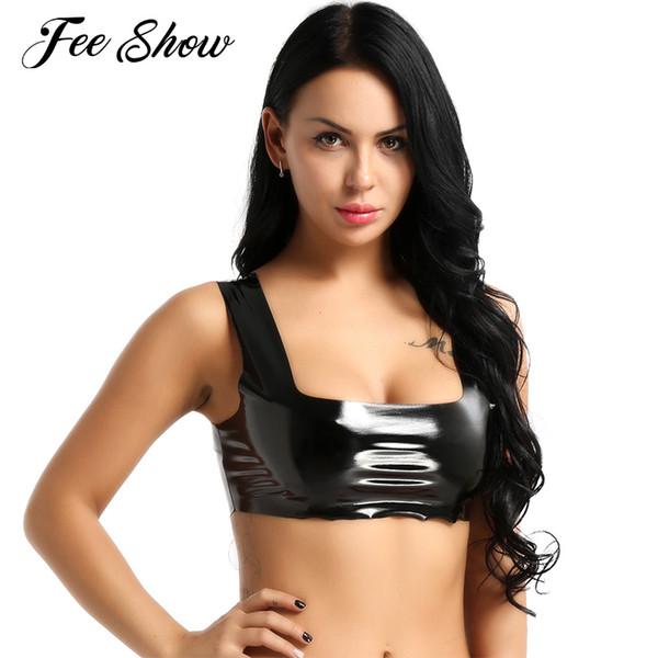 Sexy Femmes Gay Fétiche Exotique Réservoirs Crop Top Wet Look En Cuir Verni Latex Top Clubwear Sans Manches Court Crop Tank Dance Wear